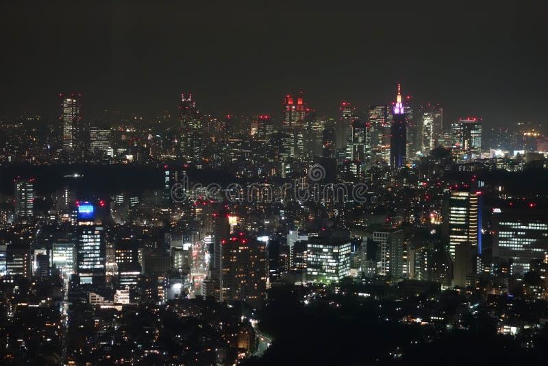 Vista aerea di notte di Tokyo fotografia stock