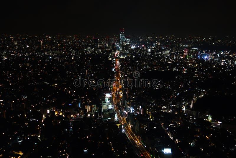 Vista aerea di notte di Tokyo immagine stock
