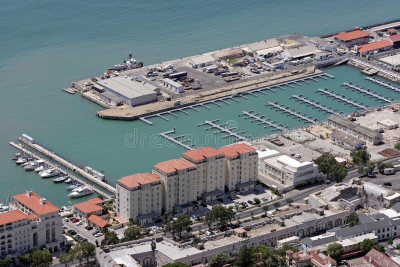 Vista aerea di nuovo porto in Gibilterra, Europa fotografia stock libera da diritti