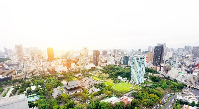 Vista aerea di occhio di uccello moderna panoramica dell'orizzonte della città con il santuario del tempio di zojo-ji a Tokyo, Gi fotografia stock libera da diritti
