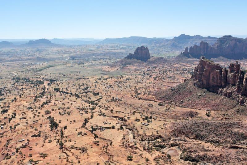 Vista aerea di paesaggio nella provincia di Tigray, Etiopia fotografie stock libere da diritti