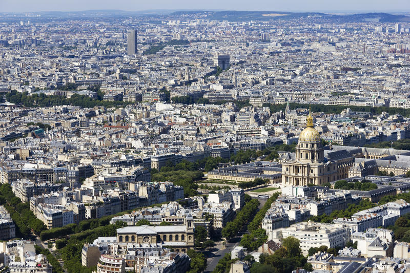 Vista aerea di Parigi, Francia da Montparnasse fotografie stock