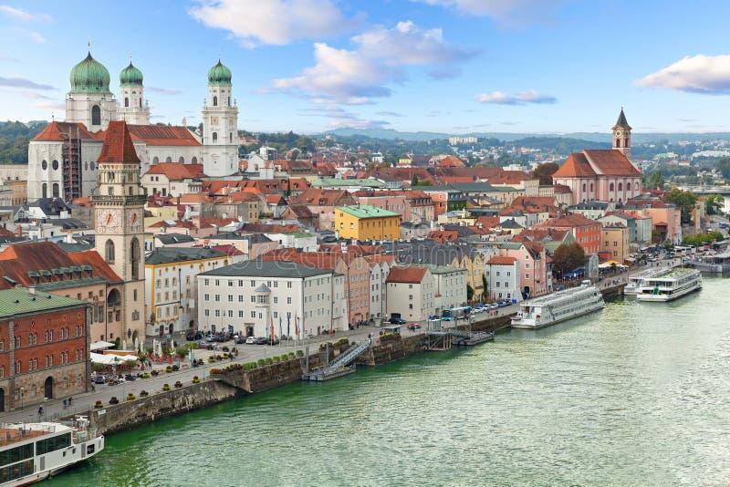 Vista aerea di Passavia, Germania immagine stock