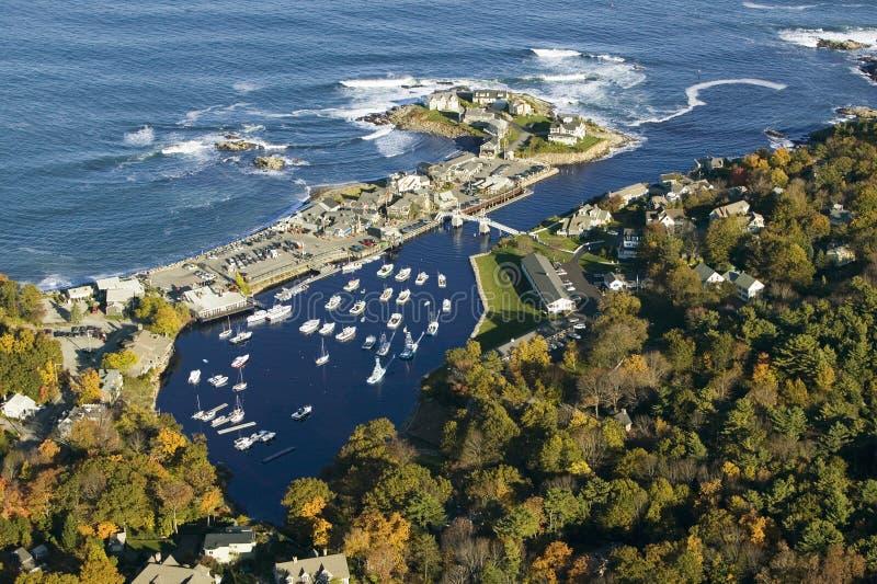 Vista aerea di Perkins Cove vicino a Portland, Maine immagine stock libera da diritti