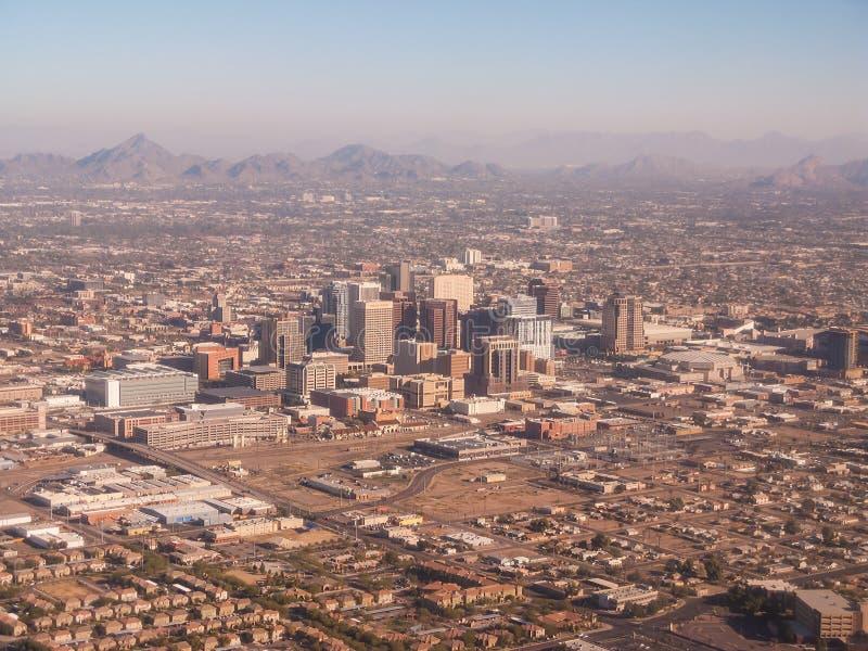 Vista aerea di Phoenix del centro fotografia stock