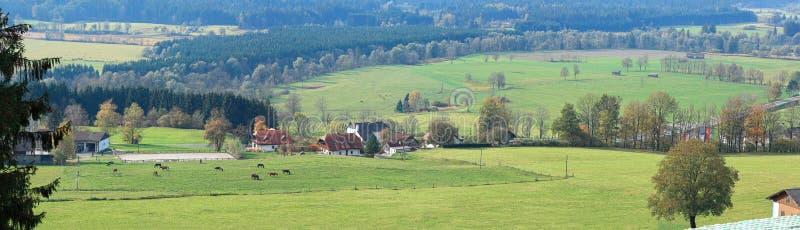 Vista aerea di piccolo villaggio in una valle circondata dalle alpi un giorno soleggiato di autunno La Stiria, Austria immagine stock libera da diritti