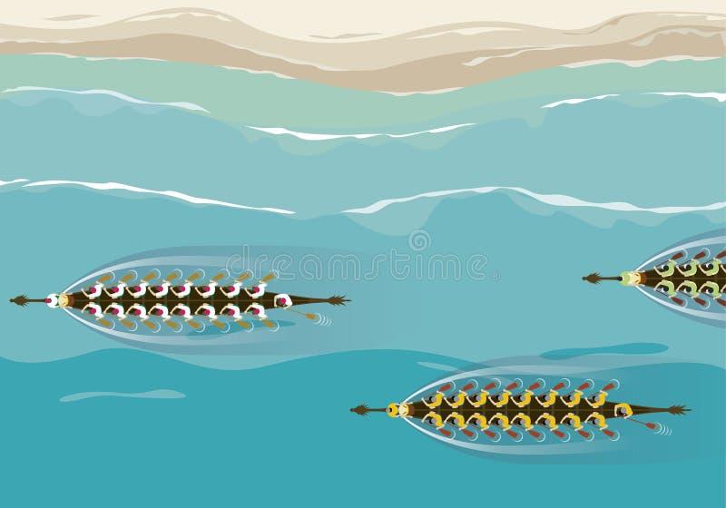 Vista aerea di progettazione dell'illustrazione della concorrenza della barca del drago royalty illustrazione gratis