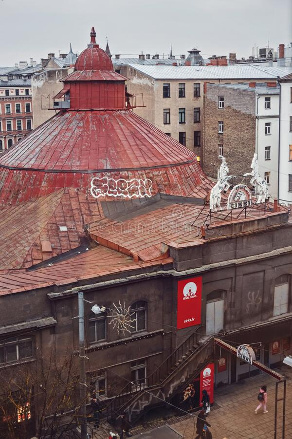 Vista aerea di Riga Circus immagine stock libera da diritti