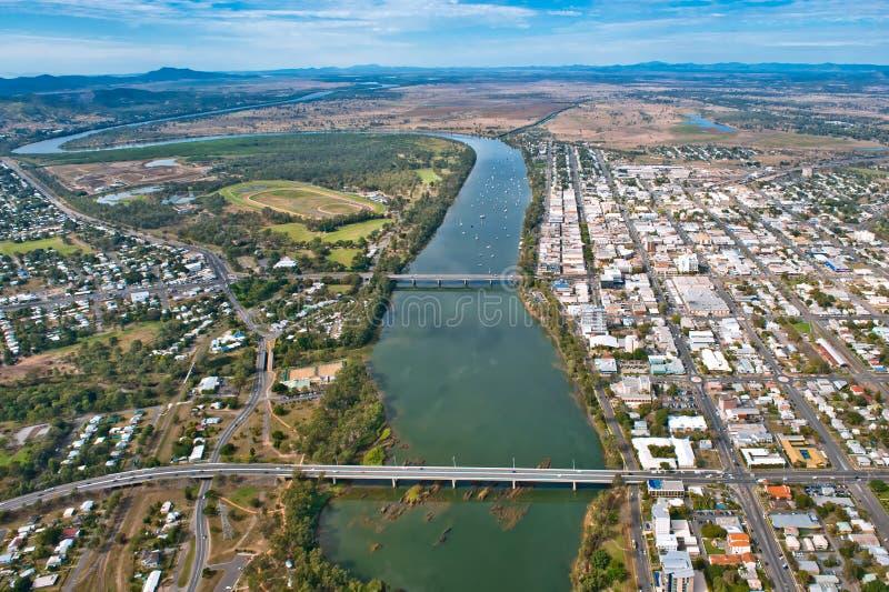 Vista aerea di Rockhampton il luglio 2010 fotografie stock libere da diritti