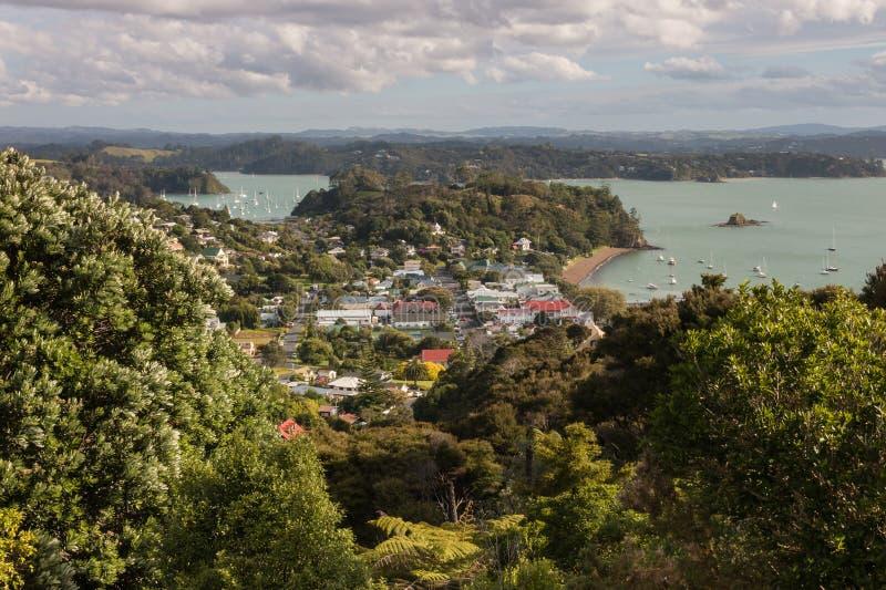 Vista aerea di Russell, baia delle isole fotografia stock