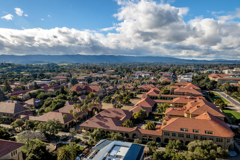 Vista aerea di Stanford University Campus - Palo Alto, California, U.S.A. fotografie stock libere da diritti