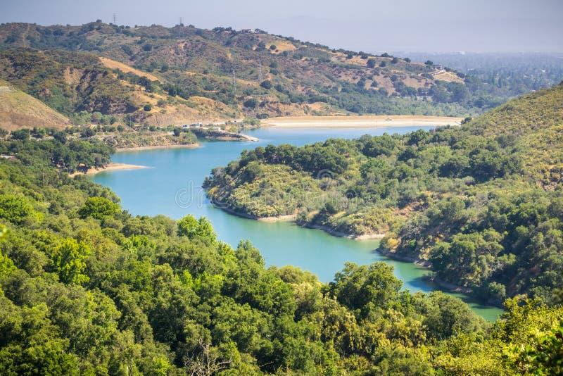 Vista aerea di Stevens Creek Reservoir fotografia stock