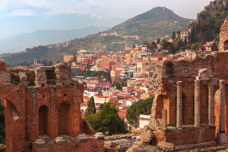 Vista aerea di Taormina, Sicilia, Italia immagine stock libera da diritti