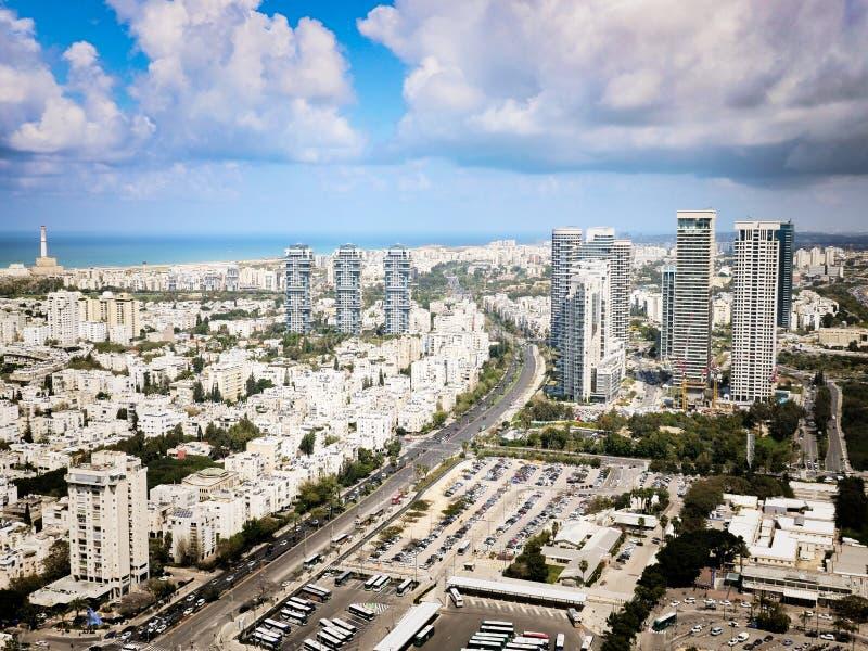 Vista aerea di Tel Aviv verso il Nord immagine stock libera da diritti