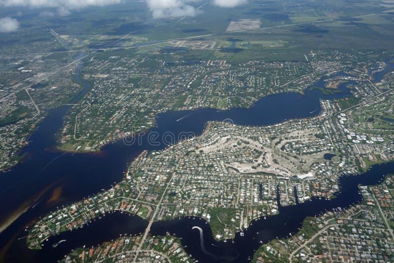 Vista aerea di Tequesta, Florida immagine stock