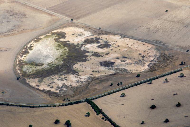 Vista aerea di terra durante la siccità, Victoria, Australia immagini stock libere da diritti