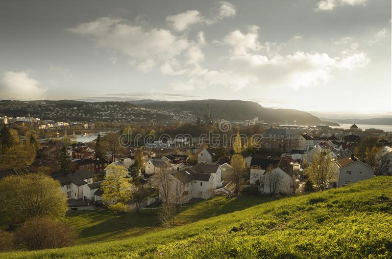 Vista aerea di Trondeim, Norvegia fotografie stock