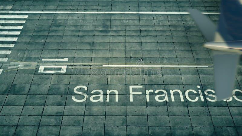 Vista aerea di un aeroplano che arriva all'aeroporto di San Francisco Viaggio alla rappresentazione degli Stati Uniti 3D royalty illustrazione gratis