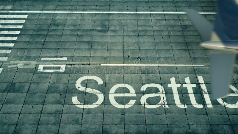 Vista aerea di un aeroplano che arriva all'aeroporto di Seattle Viaggio alla rappresentazione degli Stati Uniti 3D illustrazione di stock