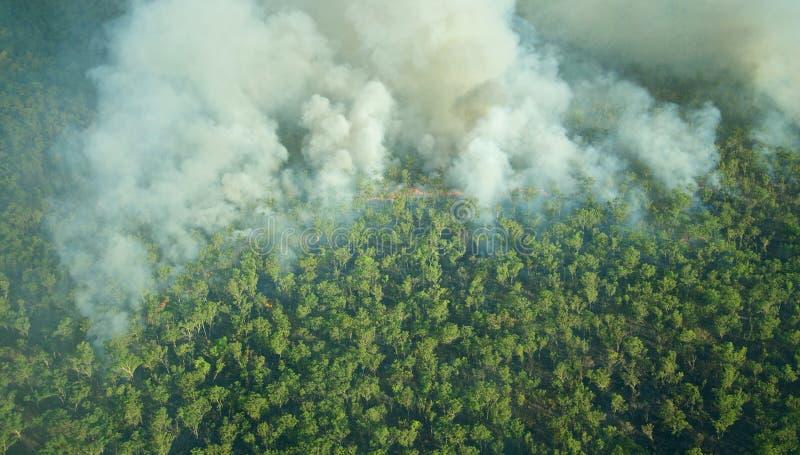 Vista aerea di un incendio di arbusti controllato nel parco nazionale di Kakadu, Territorio del Nord, Australia immagini stock