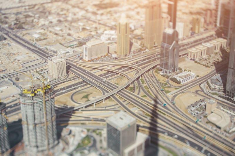 Vista aerea di un'intersezione della strada principale fotografia stock