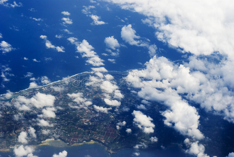 Vista aerea di un'isola fotografia stock