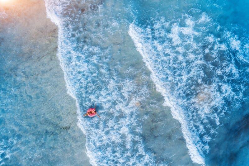 Vista aerea di un nuoto della giovane donna con l'anello di nuotata della ciambella fotografia stock