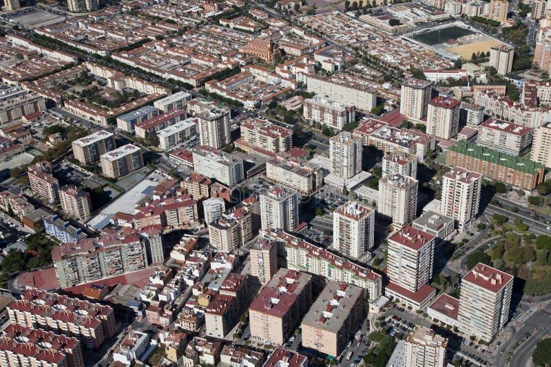 Vista aerea di una zona residenziale a Malaga. fotografia stock