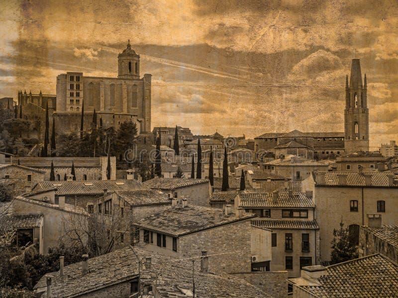 Vista aerea di vecchia città di Girona, Spagna fotografia stock libera da diritti