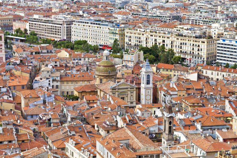 Vista aerea di vecchia città Nizza in Francia Cote d'Azur fotografia stock libera da diritti
