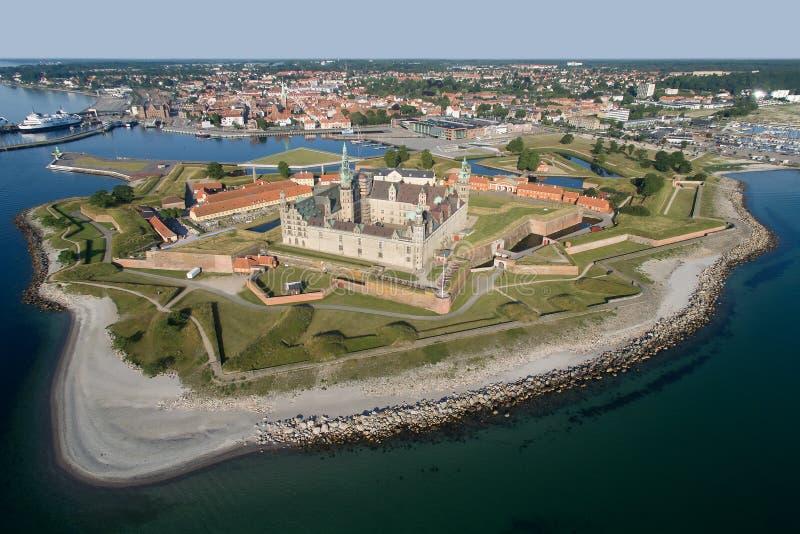 Vista aerea di vecchio castello Kronborg, Danimarca fotografie stock libere da diritti