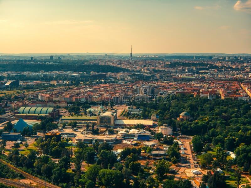 Vista aerea di Vystaviste a Praga fotografie stock libere da diritti