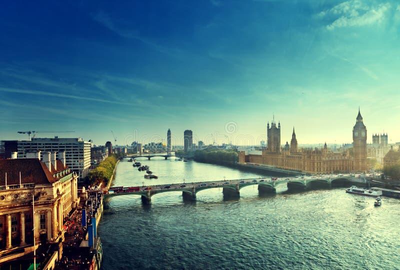 Vista aerea di Westminster, Londra immagini stock libere da diritti