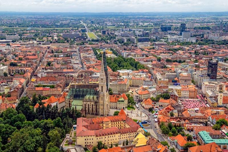Vista aerea di Zagabria fotografia stock libera da diritti
