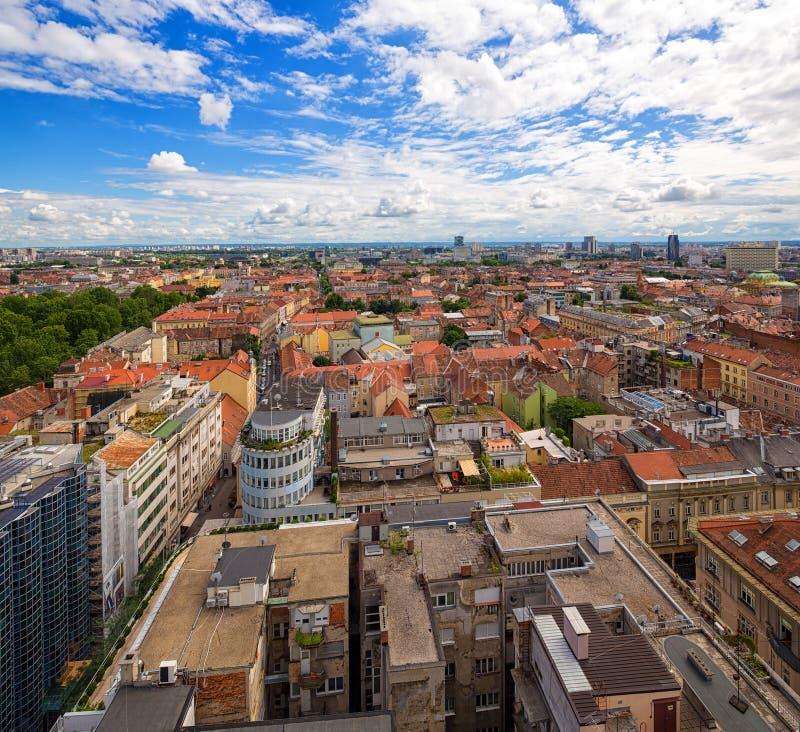 Vista aerea di Zagabria, Croazia fotografia stock libera da diritti