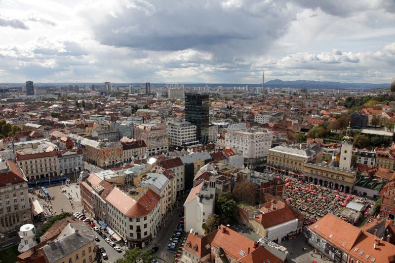Vista aerea di Zagabria, la capitale della Croazia fotografia stock libera da diritti