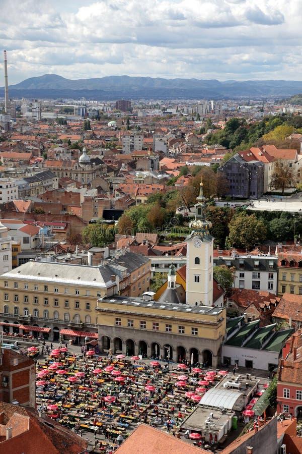 Vista aerea di Zagabria, la capitale della Croazia immagini stock libere da diritti