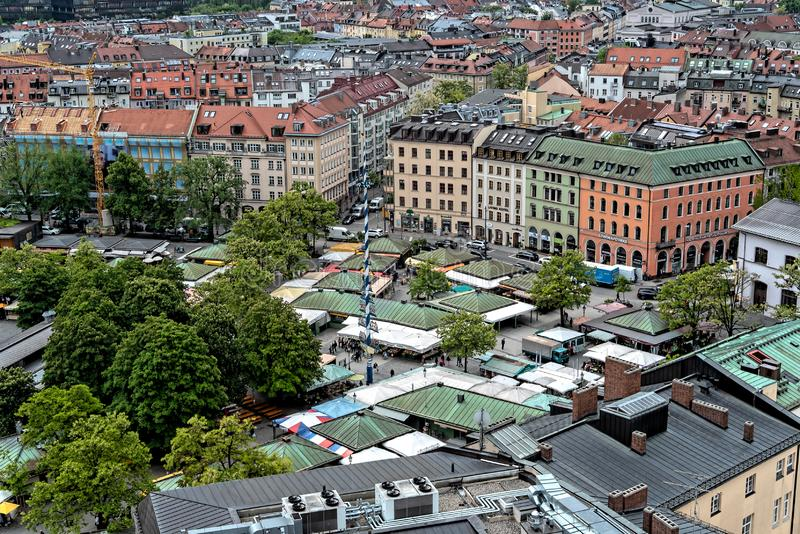 Vista aerea generale di Monaco di Baviera da una torre fotografia stock libera da diritti