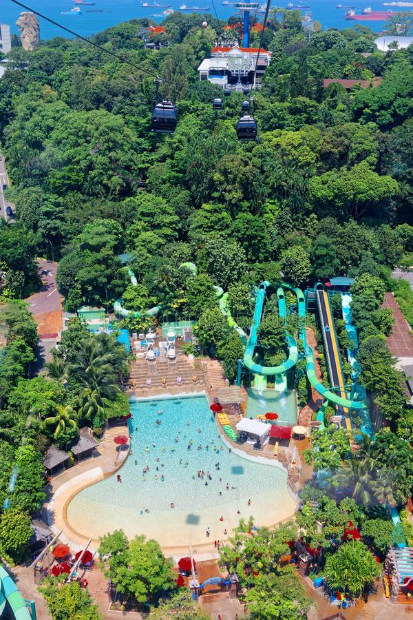 Vista aerea, giri dell'acqua, località di soggiorno di Sentosa fotografie stock
