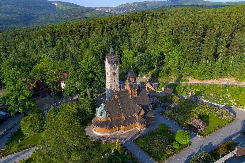 Vista aerea luterana di Wang della parrocchia immagini stock libere da diritti