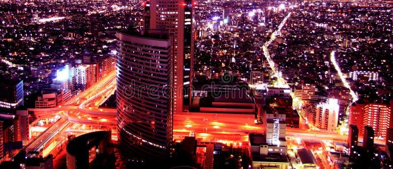 Vista aerea notturna fotografia stock