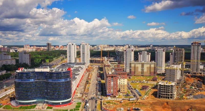 Vista aerea, paesaggio urbano di Minsk, Bielorussia fotografia stock libera da diritti