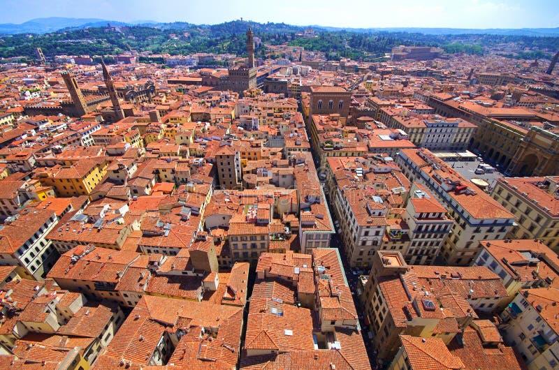 Vista aerea panoramica dalla cima della cattedrale di Firenze immagini stock libere da diritti