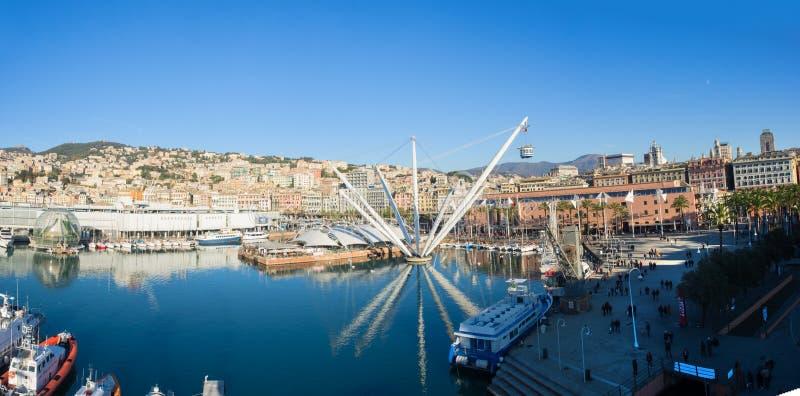 Vista aerea panoramica di Genoa Genova di fotografie stock
