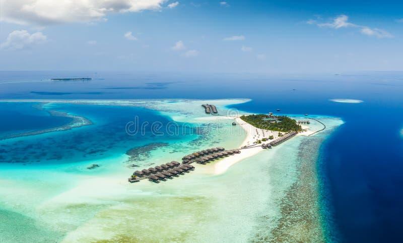 Vista aerea panoramica di un'isola tropicale nell'Oceano Indiano, Maldive immagine stock libera da diritti