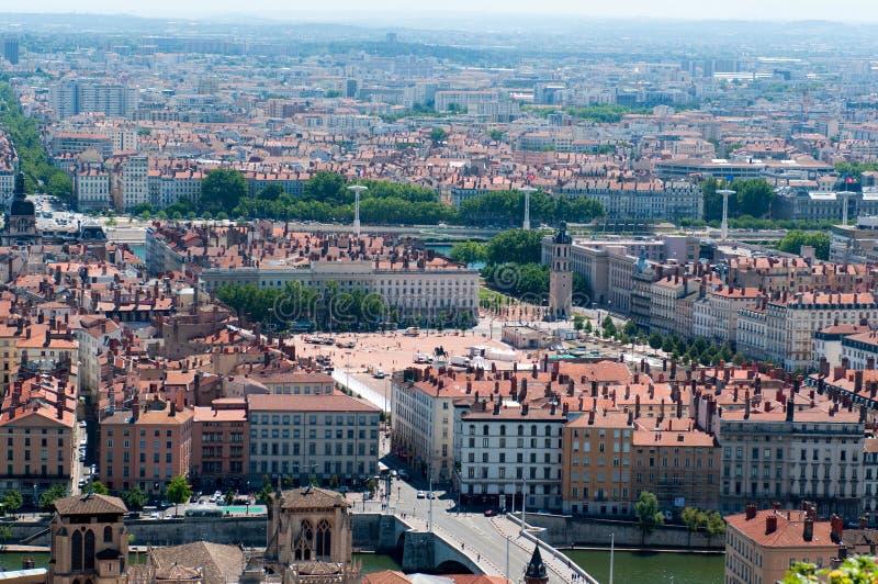 Vista aerea panoramica a Lione fotografia stock