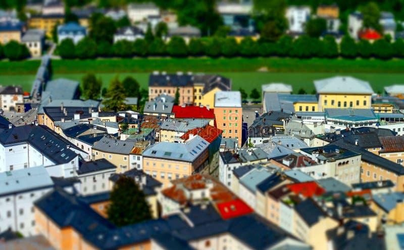 vista aerea a Salisburgo, effetto miniatura dello Inclinazione-spostamento immagini stock libere da diritti