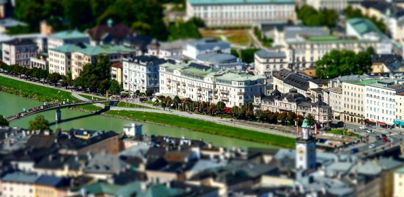 vista aerea a Salisburgo, effetto miniatura dello Inclinazione-spostamento immagini stock