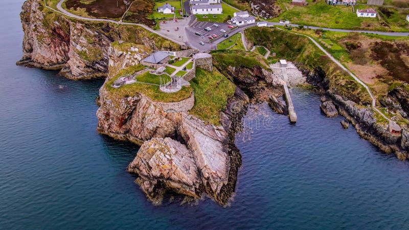 Vista aerea sopra Dunree forte in Irlanda fotografia stock