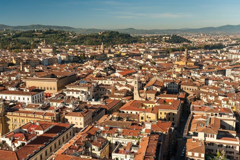 Vista aerea sopra Firenze un giorno soleggiato in autunno immagine stock